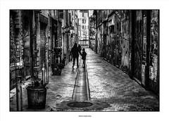 Father and Son .... (michel di Méglio) Tags: street bw monochrome noiretblanc marseille graffiti olympus people black white