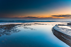 Colours of a Dawn Seascape from Rock Ledge (Merrillie) Tags: daybreak theskillion nature australia terrigal waves sunrise morning newsouthwales rocks earlymorning nsw sea rocky ocean coast landscape dawn coastal waterscape outdoors seascape rockledge centralcoast water sky