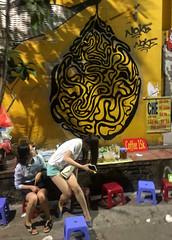 Sitting Down for Coffee (cowyeow) Tags: hanoi vietnam asia asian street urban city people girl young woman pretty yellow cute asiangirl vietnamese vietnamesegirl vietnamesewoman restaurant funny sexy legs streetmarket candid coffee streetart graffiti hot