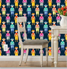 FASHION ADDICT FUNNY LADY 1 ON INDIGO BLUE WALLPAPER by Paysmage (paysmage) Tags: paysmage spoonflower fabric roostery colorful cotton coordinates collection colors cute polyester printondemand print pod lady ladies cartoon woman women girls watercolor painted fabrics fashion fun indigo addict trendy funky dolls upholstery apparel character figure sewing stiching applique