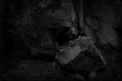 Deep into the woods (*Kicki*) Tags: woods forest rock boulder dark grisslehamn sweden väddö roslagen me self selfie selfportrait självporträtt 50mm troll trollskog kicki portrait tree lowkey person people