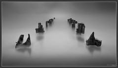 The Groynes (peterwilson71) Tags: abandoned daybreak exposure flow industrial light motion northeast outdoors ocean reflections sky sea sunrise tide travel view water monochrome