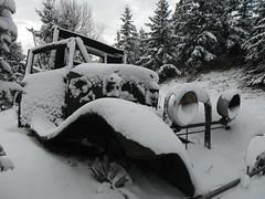 Cold Start .... (Mr. Happy Face - Peace :)) Tags: snow autumn fall yyc vintage truck rust rusty abandoned art2018 art metallic