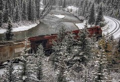 Westbound Train passing through Morant's Curve on a snowy day in Banff National Park (PhotosToArtByMike) Tags: morant'scurve banff banffnationalpark train canadianpacificrailway nicholasmorant bowvalleyparkway canadianrockies railway albertacanada mountain mountains