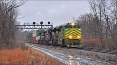 26T: Rolling into December (Images by A.J.) Tags: train railroad railway rail transportation cargo freight norfolk southern pennsylvania pittsburgh derry laurel highlands position light signal heritage illinois terminal emd sd70ace winter rain stack intermodal container