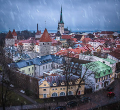 Tallinn old town (ToriAndrewsPhotography) Tags: tallinn estonia christmas market old town aerial view high up viewing platform photography andrews tori snow sleet blue hour