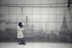Background (reiko_robinami) Tags: streetphotography station city urban wall platform monochrome blackandwhite oneperson yokohama japan