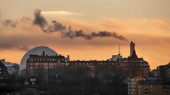 The Globe in the background in Stockholm, Sweden 9/1 2018. (photoola) Tags: stockholm rök skansen globen smoke photoola sweden