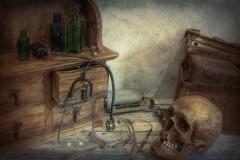 SL091118 Beyond Resuscitation 05.jpg (Sh4un65_Artistry) Tags: digitalart topazimpression gothic painterly paintedphoto skull topaz textured digitalpainting stilllife artwork topaztextureeffects medical potteryandglass painteffect