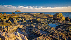 Rocky shore on a calm day (Alan Charles) Tags: 2018 ct connecticutshore madison seascape afternoon beach latefall rockyshore sand shore sky