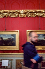 The man was catchier than the paintings (ale2000) Tags: 35mm agfa aledigangi ctprecisa firenze florence galleriapalatina galleriadegliuffizi lomography palazzopitti ql19 uffizi analog analogfilm analogphotography analogue candid diapositiva film fotografiaanalogica gallery mueso muesum pellicola people slidefilm frames man museo museum art blurry blurred longexposure