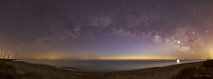 Milky Way Panorama before Sunrise (Constantine L.) Tags: milky way chesapeake bay panorama ioptron startracking canon 6d samyang 24mm outdoor nature starscape landscape astroscape nightscape astrophoto astrophotography night sunrise sand beach bethel mathews virginia satellite flare water light pollution reflection stars venus reflexion long exposure