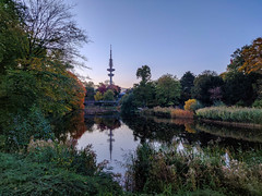 Hamburg (MAKER Photography) Tags: hamburg germany trees tree leaves leaf grass shelfs shilf water lake pond reflection colorful colourful tower sky