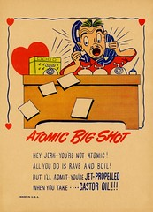 Atomic Big Shot (Alan Mays) Tags: ephemera greetingcards greetings cards vinegarvalentines valentines paper printed valentinesday saintvalentinesday february14 holidays hearts red men atomicbigshots atomic bigshots desks offices telephones talking yelling jerks jetpropelled castoroil laxatives scatalogicalhumor scatalogical wordplay insults caricatures parodies humor humorous funny rhymes poetry poems illustrations borders yellow brown 1950s antique old vintage typefaces type typography fonts