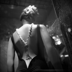 untitled (kaumpphoto) Tags: rolleiflex 120 tlr ilford bw black white window city street urban display jewelry fashion mannequin dummy dress bobble pendant back sophisticated wealth point necklace