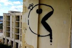 PAC-MAN (nothinginside) Tags: pac man pacman graffiti murale wall mural king queen spray pop steet art 2018 urbex malta jerba palace htole hotel former ex marsaskala marsascala building abandoned urban decay