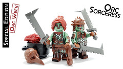 Orc Sorceress (BrickWarriors - Ryan) Tags: brickwarriors custom lego minifigure weapons helmets armor orc female sorceress mage scimitar sword sling bird mask monster fantasy castle medieval evil