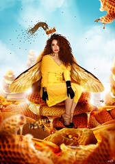 Queen Bee (KIKO ALCAZAR PHOTO) Tags: actress golden gold gente digitalart popart art photo colour surrealista cover ilustración poster eye retrato yellow fashion blue pink kikoalcazar bee honey