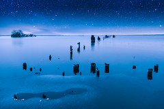 ~The sky is filled with stars, invisible by day. (Fire Fighter's Wife) Tags: night dusk stars dreamer lake lakesuperior dock ruins old fujifilm fujinonxf1855mmf284rlmois fujifilmxt20 1855mmf2840 marquette nightlights nightcolors nighttime sky blue blues somethingblue light lightandshadow winter winterwonderland ice icy shore shoreline