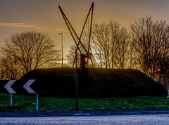 Filton Roundabout Sunrise (wi-fli) Tags: roundabout filton bristol road sunrise goldenhour sculpture winter january southgloucestershire a38 metalwork commute grass signs trafficlights sky golden sun sunshine dxo