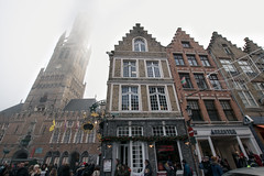 Murky Brugge (thomasspilsbury) Tags: bruges brugge fog belfry tower architecture belgium belgian mist murky foggy misty belgique europe eu travel explore weather nikon d5300 tourism architectureporn building city town oldtown flickr photography skyline streetscape