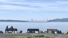 Three Benches for a Monday (Melinda * Young) Tags: bench three couple people dog goldengatebridge berkeley park chavez blue view rest hbm grass path