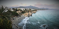 Greetings from Nerja (roomman) Tags: 2018 spain coast med mediterranean almeria nerja promenade plaza de europa balcon balcony balkon cliff high above water sea ocean penorama landscape nature beach rock rocks rocky mountain mountaons coastline bay sky cloud clouds cloudy nice beautiful panorama