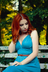 (j-kane) Tags: woman girl dziewczyna kobieta model female modelka pretty beauty beautiful sexy hot nice body fit skinny outside outdoor nature summer warm park bench wood forest tree trees redhead red hair ginger portrait face lips eyes belt blue dres clevage