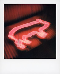 Gus's BBQ Neon 2 (tobysx70) Tags: the impossible project tip polaroid sx70sonar sonar expired instant color film for sx70 type cameras impossaroid guss bbq west 1st street claremont california ca pink pig neon sign lit illuminated glow night nocturnal barbecue barbq baby back ribs pulled pork beef brisket motion blur 101518 polawalk toby hancock photography