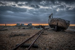 End of the line (James Waghorn) Tags: wreck beach nikon d7100 derelict dungeness tamron1024f3545diiivchld boat pebbles railway winter kent sunset clouds england abandoned rails winch bleak gloomy