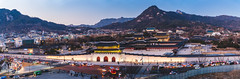 Panorama of Gyeongbokgung Palace in Seoul city, South Korea. (MongkolChuewong) Tags: gwanghwamun ancient architecture art asia autumn backpack backpacker beautiful blue building castle city culture entrance fashion garden gate gateway girl grounds gyeongbokgung hanbok historic historical illuminated korea korean kwanghwamun landmark national night old palace royal seoul south spring style summer sunrise sunset sy tourism tourist traditional travel traveler twilight woman