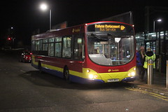 Trustybus / Galleon Travel . Roydon , Essex . YN05WKD . Bishop's Stortford Station , Hertfordshire . Sunday 06th-January-2019 . (AndrewHA's) Tags: hertfordshire bishopsstortford railway station trustybus galleon travel roydon essex scania l94ub wright wrightbus solar yn05wkd replacement service second hand first group pmt 65735 stagecoach chester wirral 28547 dark evening night