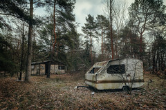 Camping (Ralph Graef) Tags: camping camp trailer forest abandoned ostalgie holiday nostalgia tree dilapidated disused derelicted urbex decay dystopia vacancy desolation