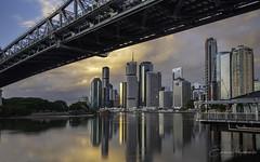 View from under the bridge (Emanuel Papamanolis) Tags: cityscape brisbane river reflections australia nikon d800 1635 f4 water buildings sky