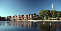 Shadwell Basin - London Docklands (nedjetwave) Tags: shadwellbasin london docklands urbanregeneration minoltax500 tokina abstract tokina24mmf28 film reversalfilm kodachrome transparency buoyant