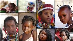Filles d'Afrique (EXPLORE) (Thierry LARERE) Tags: afrique portrait scènedevie photomontage enfant fille coiffure foulard explore tresse scarificationethnique mosaïque