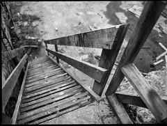 looking down, metal staircase, wooden railings,River District, Ashevile, North Carolina, Mamiya 645 Pro, mamiya sekor 45mm f-2.8, Bergger Pancro 400, Ilford Ilfosol 3 developer, 1.5.19 (steve aimone) Tags: lookingdown stairway staircase stairs metal railings wooden woodenrailings architecturalforms architecture warehouse riverdistrict asheville northcarolina mamiya645pro mamiyasekkor45mmf28 mamiyaprime primelens berggerpancro400 pancro400 ilfordilfosol3developer 120 120film film mediumformat 645 monochrome monochromatic blackandwhite