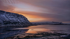 Something awaits (danielfj91) Tags: iceland sunset sun calmn reflection winter snow cold reflected mirror mirrorless a6000 alpha6000 clouds amazing light ocean sea hvalfjörður fjord sky colorful
