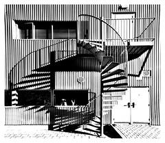 Circular stairway (leo.roos) Tags: spiralstaircase wenteltrap trap stairs staircase stairway shadow schaduw noiretblanc distortion a7 sonye1628 sel16f28 modifiedforff darosa leoroos