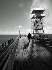 winter sunshine (auroradawn61) Tags: winter sun crisp sunny january 2019 seaside coast bournemouth dorset uk england lumixgx80 januaryblues pier structure blackandwhite