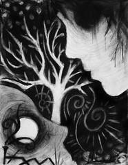 L'Amour et La Mort (Skyler Brown Art) Tags: angst art artwork bw blackwhite blackandwhite charcoal creepy dark darkness death depressing drawing gothic greyscale macabre paper plants profile sad tree