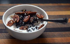 Oatmeal With Hemp Milk, Black Currants and Pecans (More Light Snow...Enough Already!!!) Tags: food breakfast mine bowl white milk hemp unsweetened pecans currants spoon board inthekitchen