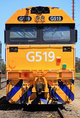 G519 in Tailem Bend (bukk05) Tags: g519 railpage:class=3 railpage:loco=g519 rpauvicgclass1 rpauvicgclass1g519 tailembend gclass world explore export engine emd electromotivediesel emd16645e3b emd16645f3b railway railroad railpage rp3 rail railwaystation railwaystations train tracks tamron tamron16300 trains yard photograph photo pn pacificnational loco locomotive jt26c2ss horsepower hp flickr freight diesel dieselelectriclocomotive station standardgauge sg spring australia artc southaustralia southaustralianrailways sar 2018 zoom canon60d canon clyde clydeengineering vr vline mainline banker coorongdistrictcouncil mallee riverlands
