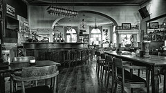 Sometimes You're The Only One On Earth (Alfred Grupstra) Tags: blackandwhite indoors oldfashioned old table retrostyled antique restaurant woodmaterial chair nopeople cafe history pub insideof obsolete architecture people bardrinkestablishment