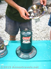 Coleman Single Burner Propane Stove with Top Off (Anne's Travels3) Tags: coleman propane stove review green