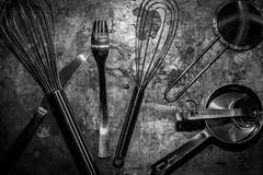 Kitchen Utensils (Phil Roeder) Tags: desmoines iowa asu bfa canon6d canonef50mmf18 stilllife kitchen utensils silver blackandwhite monochrome