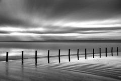 Stakes in the Sand (cotswoldman) Tags: breansands southwest somerset beach posts sand skyscape sky seascape seaside wet westcountry silhouette monochrome mono blackandwhite blancoynegro blancetnoir noiretblanc schwarzundweiss blur ndfiter bigstopper gloucestercameraclub