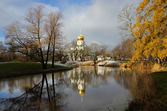 First snow. Cathedral and reflection. (fedoseenko) Tags: санктпетербург россия красота colour природа beauty blissful loveliness beautiful saintpetersburg sunny art shine dazzling light russia day park peace blue white голубой небо лазурный color sky pretty sun пейзаж landscape clouds view heaven mood serene golden gold colours picture road tree grass nature alley history trees tsar walkway field outdoors old d800 wood cathedral church cupola holy orthodox path religion building architecture domes shrines town winter snow water reflection cloud sanctuary lake feodorovsky 24120mmf3556d