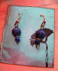 matte lapis lazuli recycled antiqued brass earrings 1 (msficklemedia) Tags: handforged artisanjewelry handcrafted earrings recycledmetal stone beads sterling silver missficklemedia