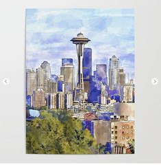 Seattle View in watercolor Poster (marianv2014) Tags: seattle usa american america washington downtownseattle spaceneedle travel attractions watercolour aquarelle walldecor roomdecor seattleposter spaceneedleposter skylineposter affordablegifts artgifts art skyscrapers tallbuildings watercolor skyline cities wallart fineart urbanlandscape green purple blue squareformat illustration artwork outdoors beautiful tourism scenery city view contemporary decor landmark charming posters